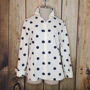 Boden button down Polka Dot Top Blouse Cotton